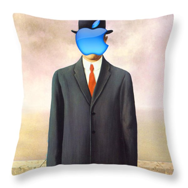 Rene Magritte Son Of Man Apple Computer Logo Throw Pillow by Tony Rubino