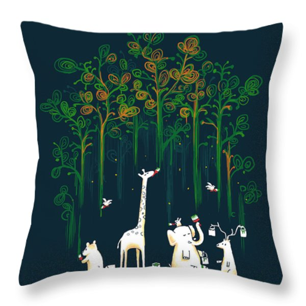Repaint the forest Throw Pillow by Budi Kwan