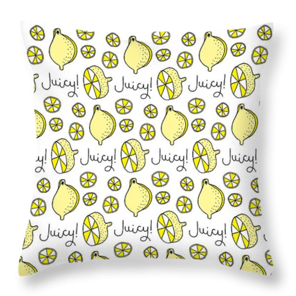 Repeat Prtin - Juicy Lemon Throw Pillow by Susan Claire
