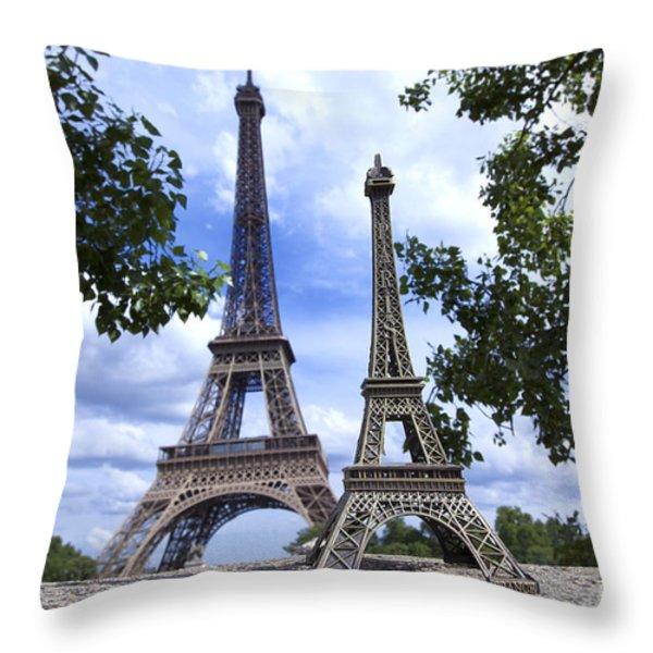 Replica Eiffel Tower next to the real Eiffel Tower Throw Pillow by BERNARD JAUBERT