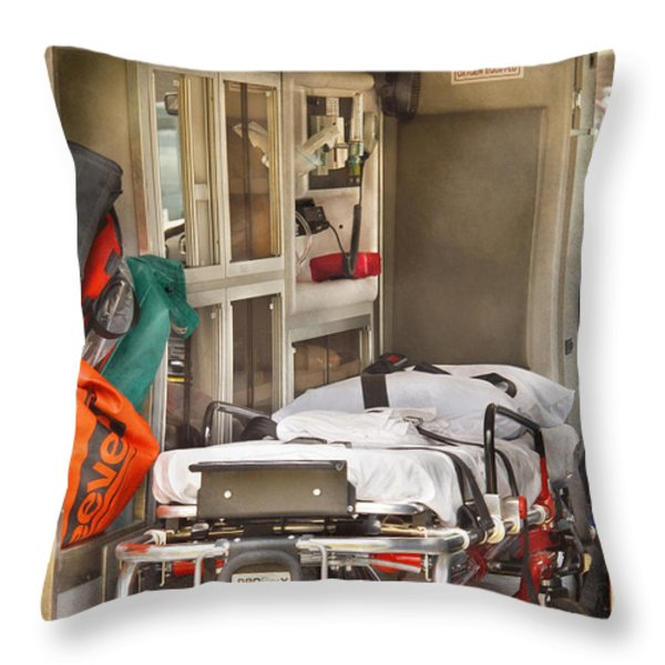 Rescue - Inside the Ambulance Throw Pillow by Mike Savad