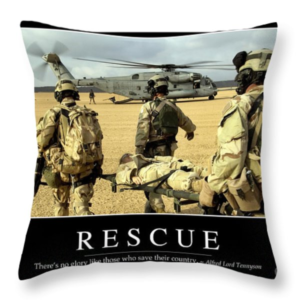 Rescue Inspirational Quote Throw Pillow by Stocktrek Images