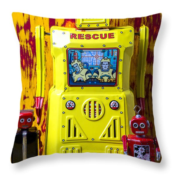 Rescue Robot Throw Pillow by Garry Gay