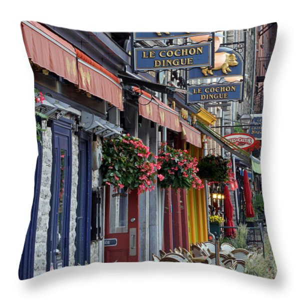 Restaurant Le Cochon Dingue In The Old Port Of Quebec City Throw Pillow by Juergen Roth