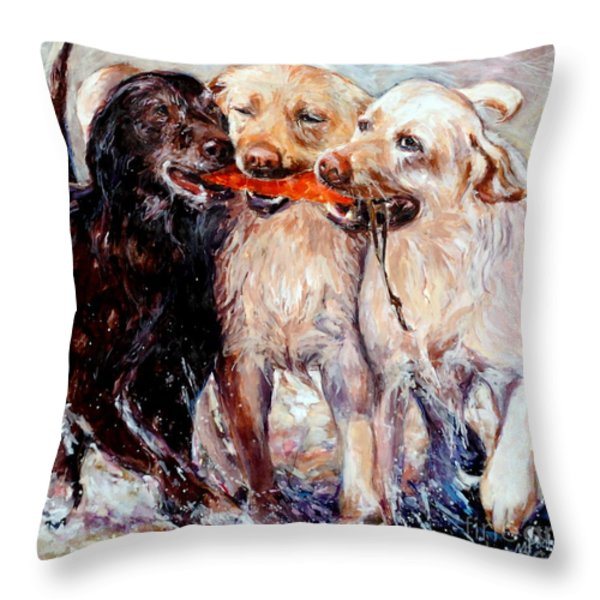Retrieving Fools Throw Pillow by Molly Poole