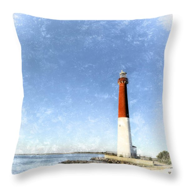 Retro Barnegat Lighthouse Barnegat Light New Jersey Throw Pillow by Marianne Campolongo