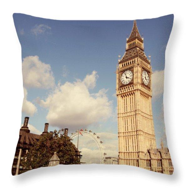Retro Big Ben Throw Pillow by Heidi Hermes