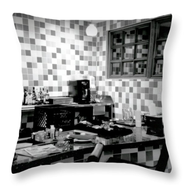 RETRO DINER BW Throw Pillow by KAREN WILES