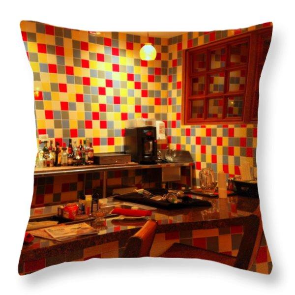 Retro Diner Throw Pillow by Karen Wiles