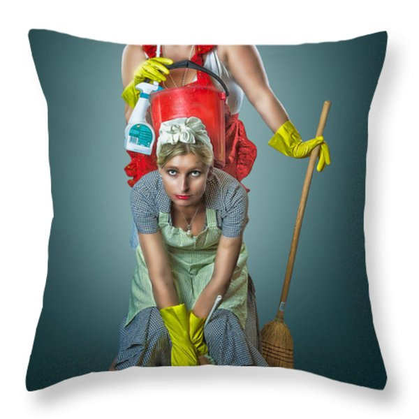 Retro Housewives Throw Pillow by Erik Brede
