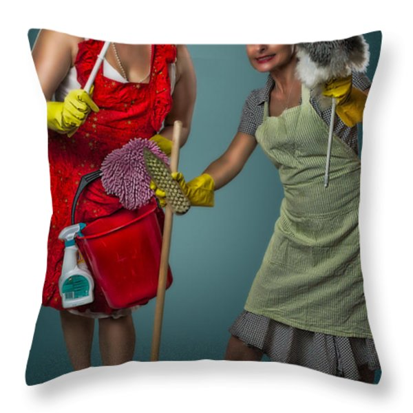 Retro Housewives II Throw Pillow by Erik Brede