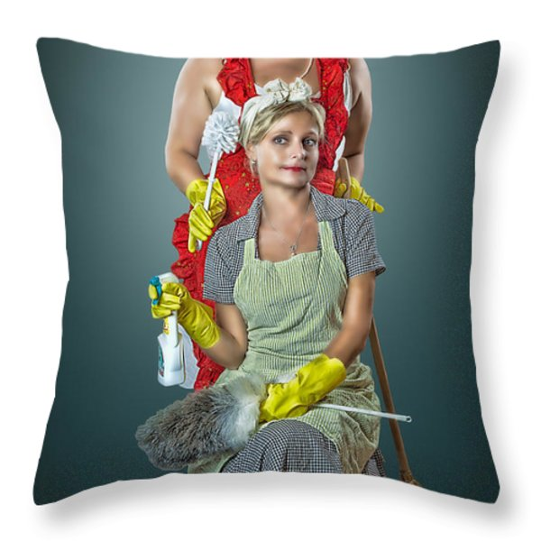 Retro Housewives Part IIi Throw Pillow by Erik Brede