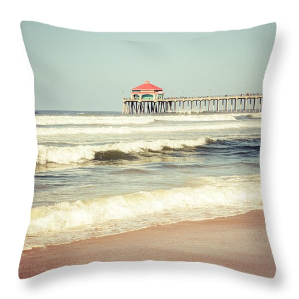 Retro Photo of Huntington Beach Pier  Throw Pillow by Paul Velgos