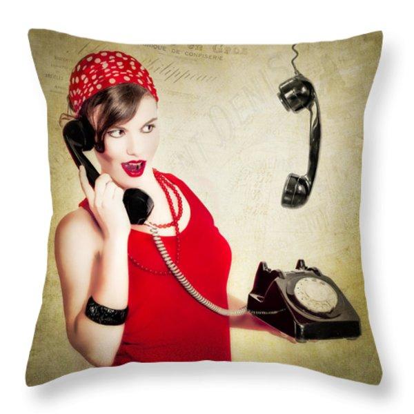 Retro Talk Throw Pillow by Erik Brede