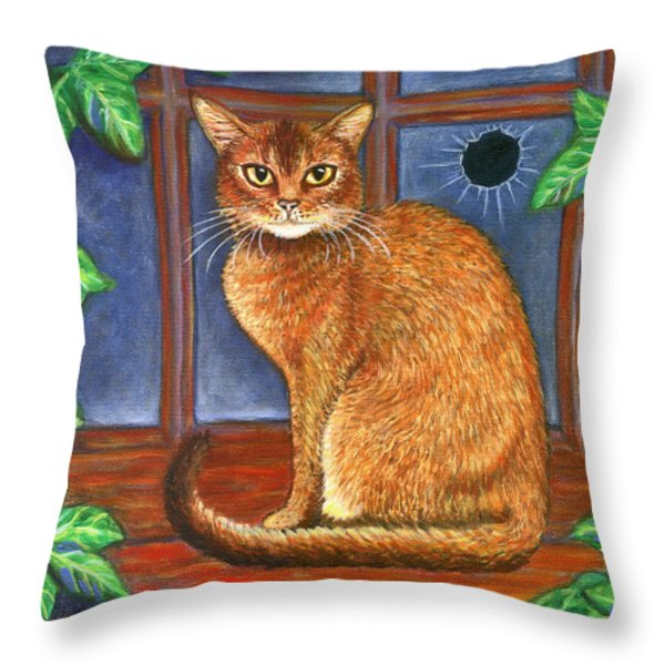 Rex The Cat Throw Pillow by Linda Mears
