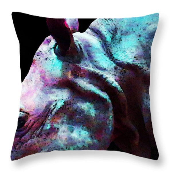Rhino 1 - Rhinoceros Art Prints Throw Pillow by Sharon Cummings