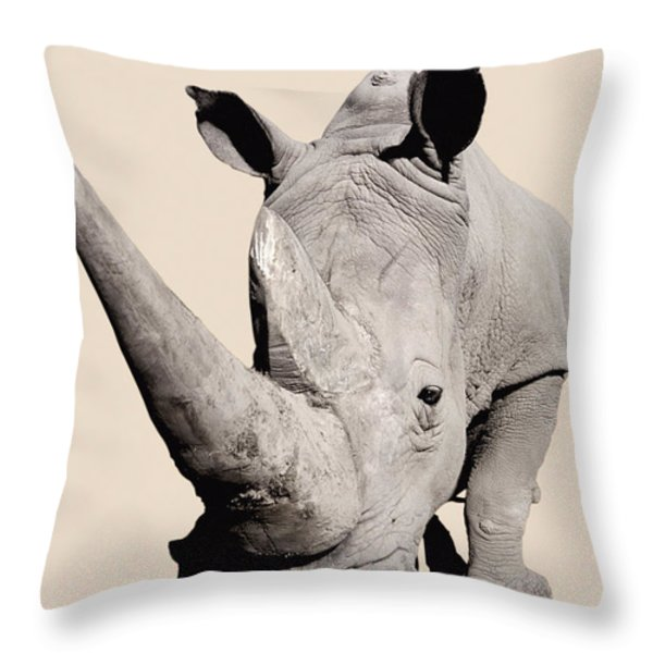 Rhinocerosafrica Throw Pillow by Thomas Kitchin & Victoria Hurst
