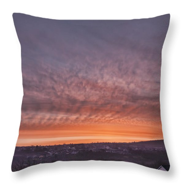 Rhymney Valley Sunrise Throw Pillow by Steve Purnell
