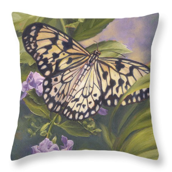 Rice Paper Butterfly Throw Pillow by Lucie Bilodeau