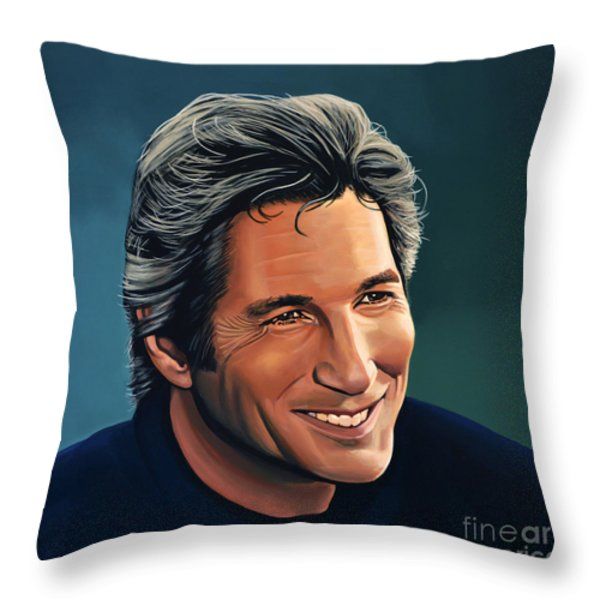 Richard Gere Throw Pillow by Paul  Meijering