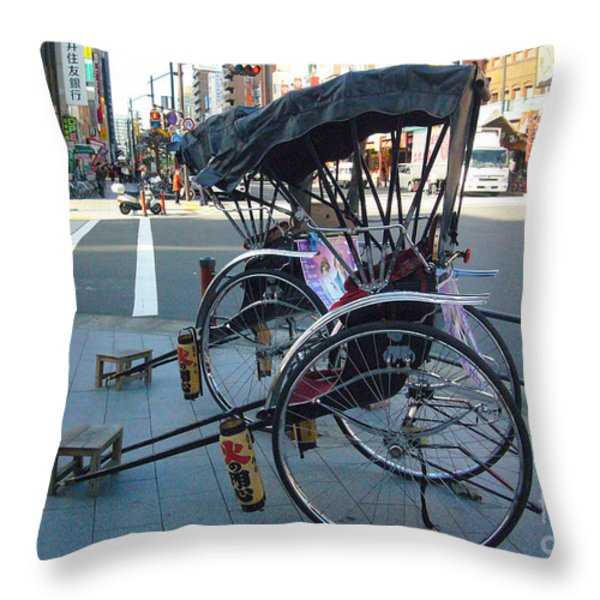 Rickshaw in Tokyo Throw Pillow by To-Tam Gerwe