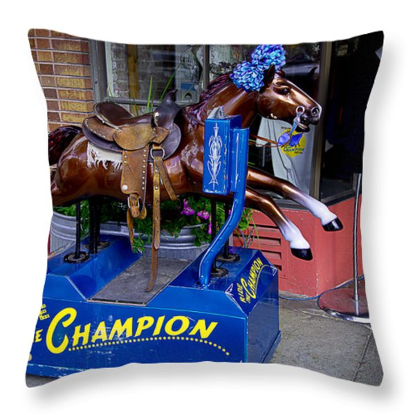 Ride The Champion Throw Pillow by Garry Gay