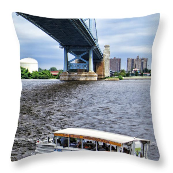 Ride the Ducks Throw Pillow by Olivier Le Queinec