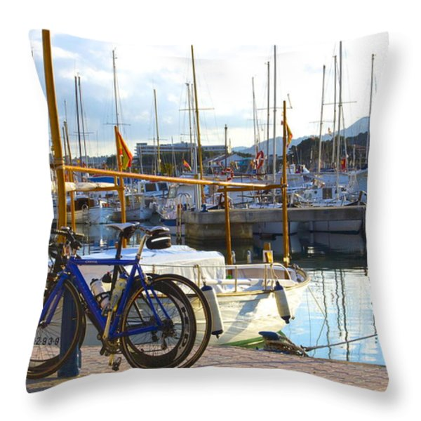 Ride To The Marina Throw Pillow by Galexa Ch