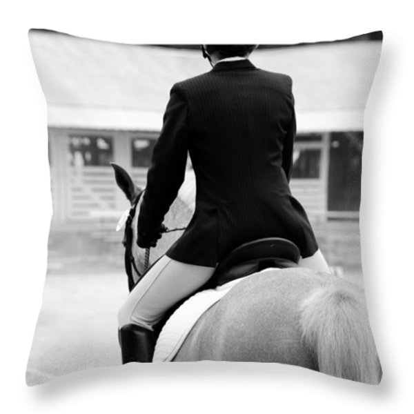 Rider In Black And White Throw Pillow by Jennifer Ancker