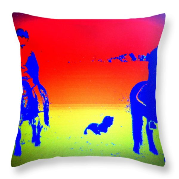 Riders In The Fields Throw Pillow by Hilde Widerberg