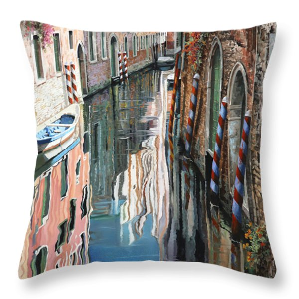 Riflessi Colorati A Venezia Throw Pillow by Guido Borelli