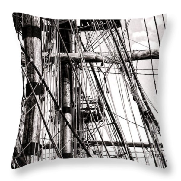 Rigging Throw Pillow by Olivier Le Queinec