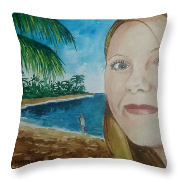 Rincon Girl Throw Pillow by Frank Hunter