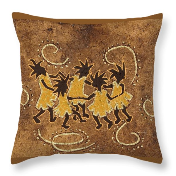 Ring-around-the Rosie Throw Pillow by Katherine Young-Beck