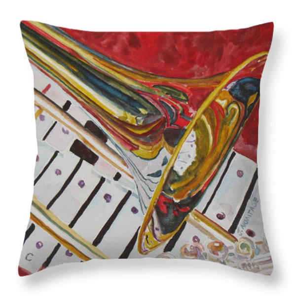 Ringing In The Brass Throw Pillow by Jenny Armitage