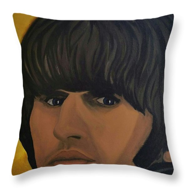 Ringo Star  Beatles For Sale Throw Pillow by Edward Pebworth