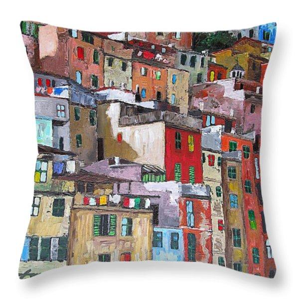 Riomaggiore - Cinque Terre - Italy Throw Pillow by Dan Haraga