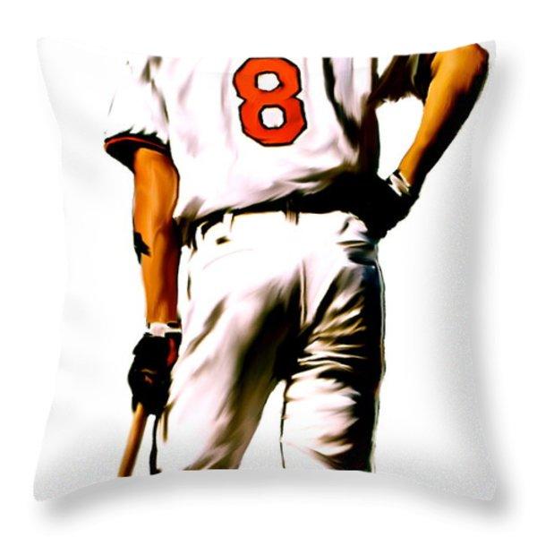 RIPKEN   Cal Ripken Jr Throw Pillow by Iconic Images Art Gallery David Pucciarelli