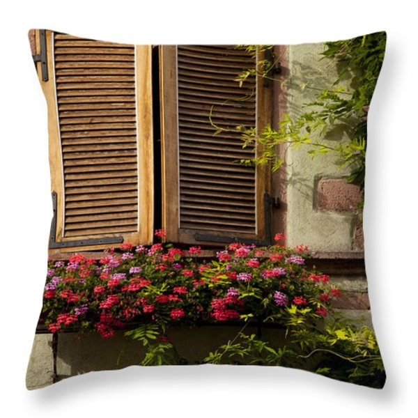Riquewihr Window Throw Pillow by Brian Jannsen