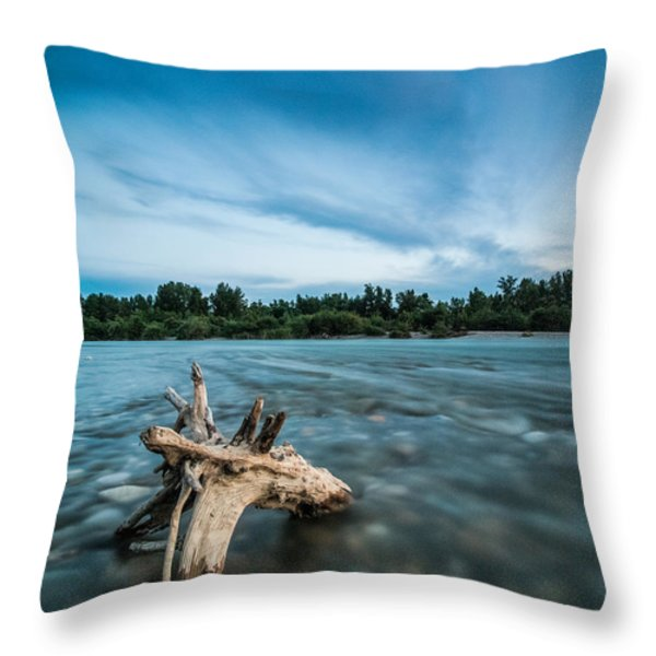 River At Night Throw Pillow by Davorin Mance