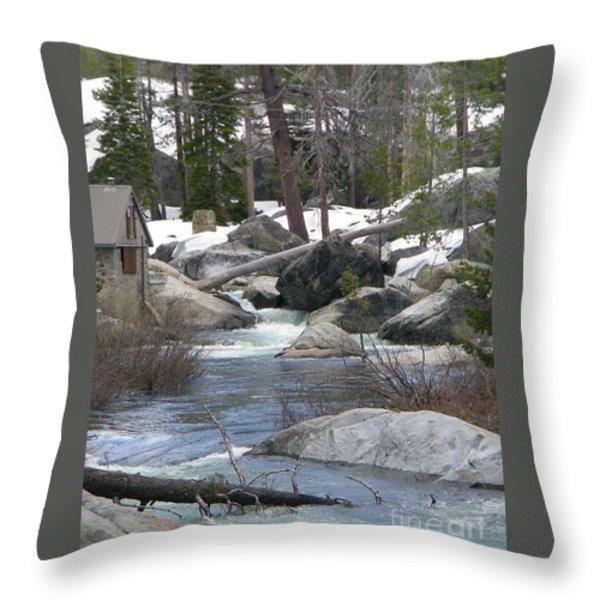 River Cabin Throw Pillow by Bobbee Rickard