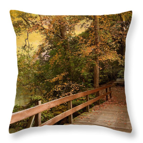 River Crossing Throw Pillow by Jessica Jenney