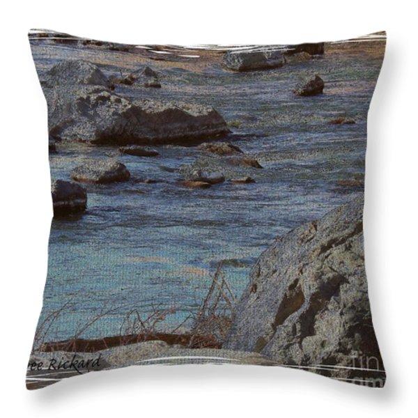River Flows Throw Pillow by Bobbee Rickard