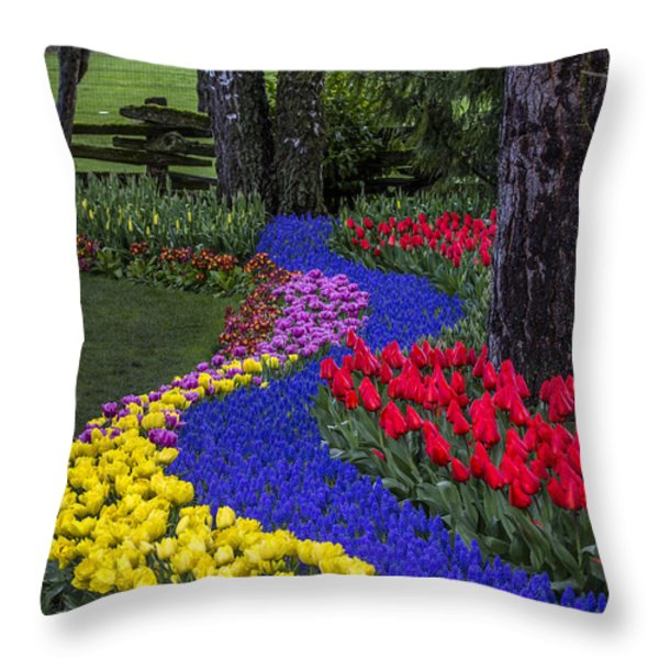 River Of Blue Throw Pillow by Sonya Lang