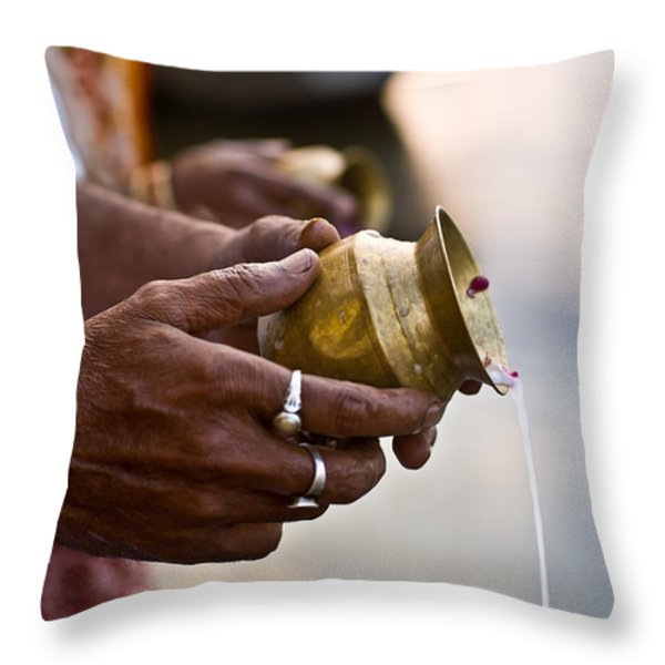 River Offering Throw Pillow by Nila Newsom