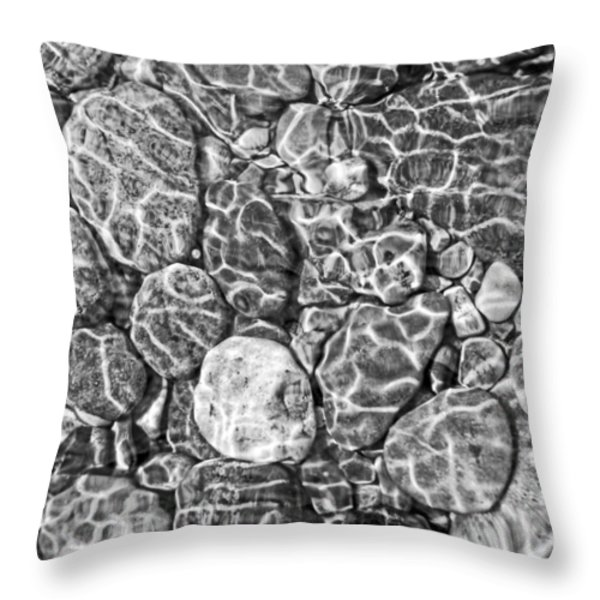 River Rocks In Stream Bed Monochrome Throw Pillow by Jennie Marie Schell