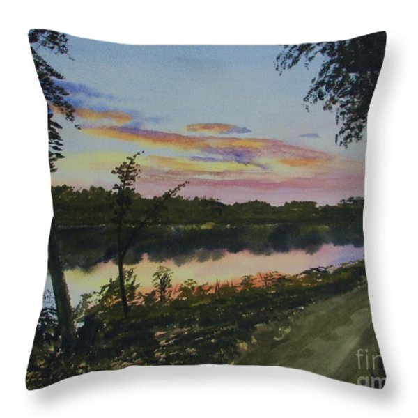 River Sunset Throw Pillow by Martin Howard