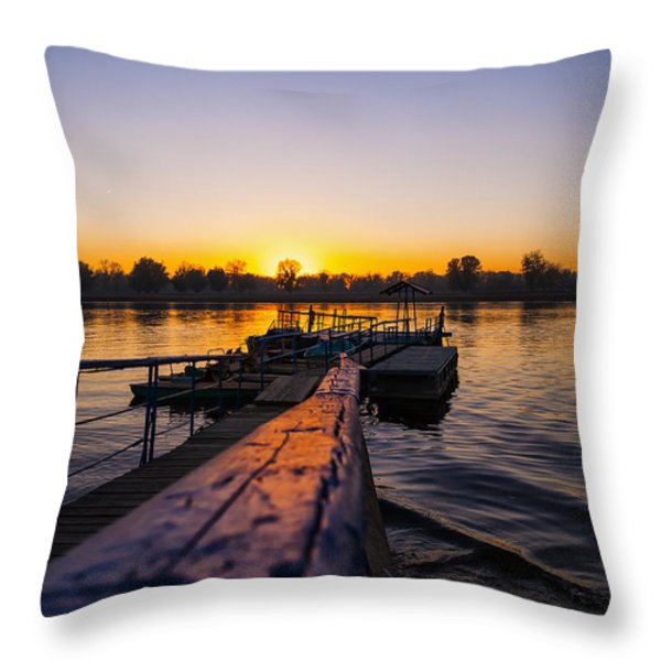 River Sunset Throw Pillow by Svetlana Sewell