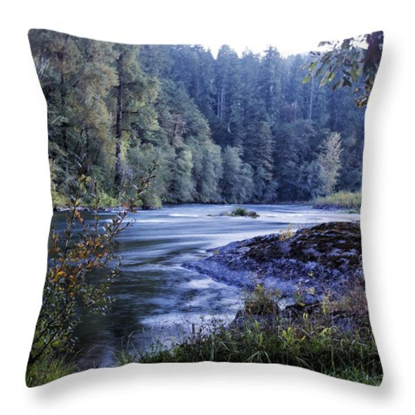 Riverflow At Dusk Throw Pillow by Belinda Greb