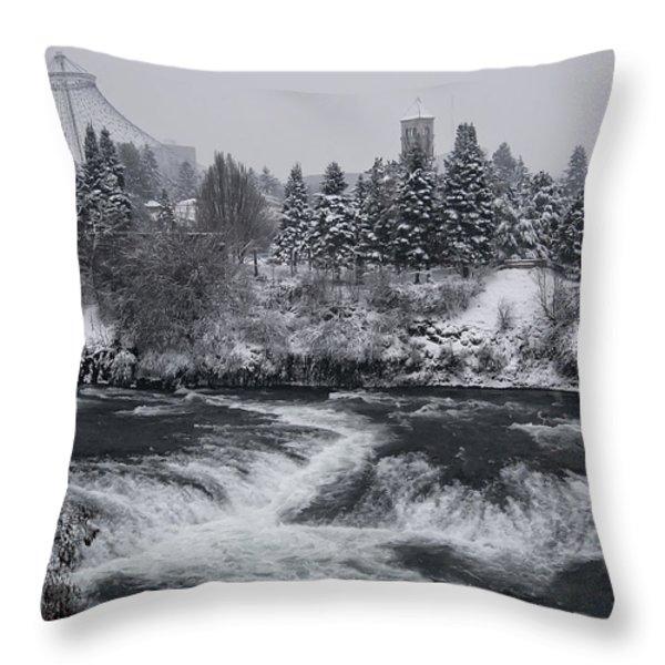 RIVERFRONT PARK WINTER STORM - SPOKANE WASHINGTON Throw Pillow by Daniel Hagerman